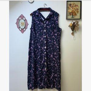 Vtg Floral Maxi Dress